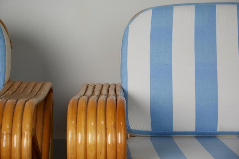 Vintage Paul Frankl Style Twelve Piece Pretzel Rattan Living Room Set For Sale 5