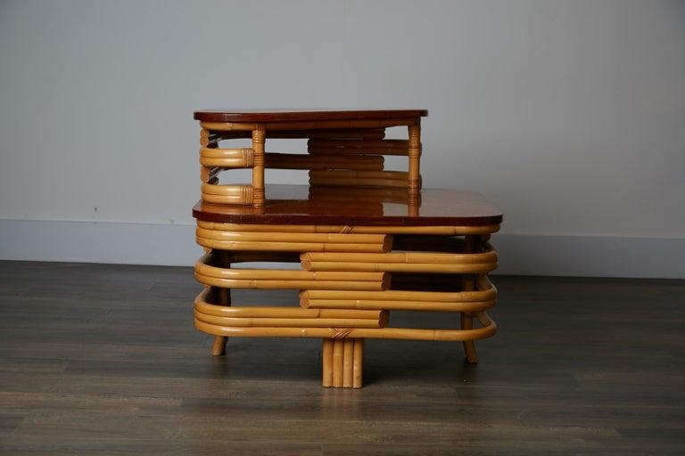 Vintage Paul Frankl Style Twelve Piece Pretzel Rattan Living Room Set For Sale 10