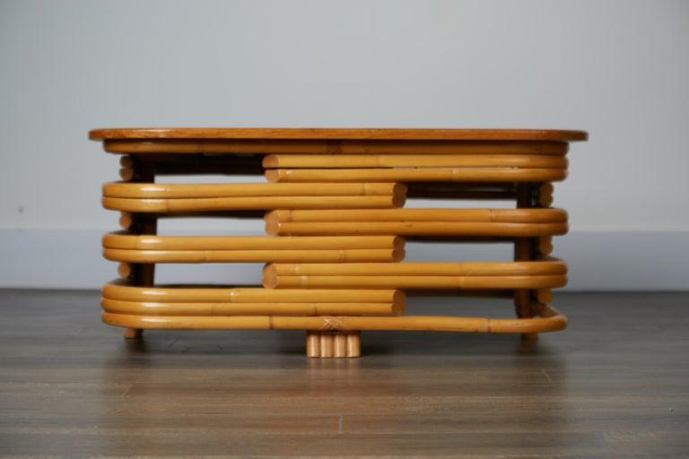 Vintage Paul Frankl Style Twelve Piece Pretzel Rattan Living Room Set For Sale 11