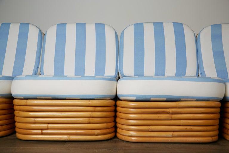 Vintage Paul Frankl Style Twelve Piece Pretzel Rattan Living Room Set For Sale 12