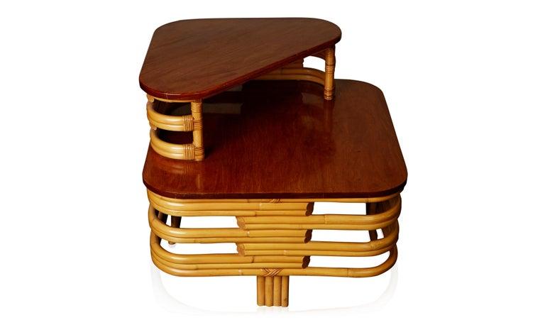 Mid-20th Century Vintage Paul Frankl Style Twelve Piece Pretzel Rattan Living Room Set For Sale