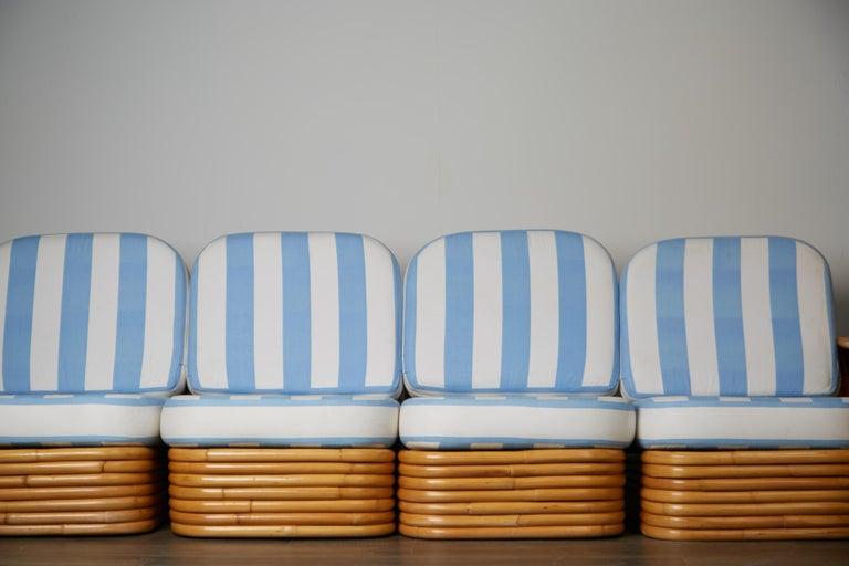 Vintage Paul Frankl Style Twelve Piece Pretzel Rattan Living Room Set For Sale 3