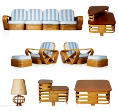 Vintage Paul Frankl Style Twelve Piece Pretzel Rattan Living Room Set