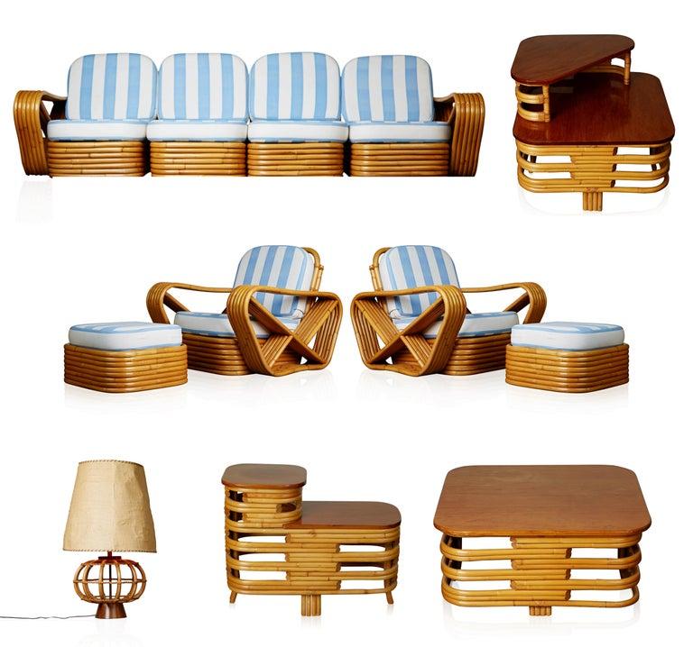 Vintage Paul Frankl Style Twelve Piece Pretzel Rattan Living Room Set For Sale