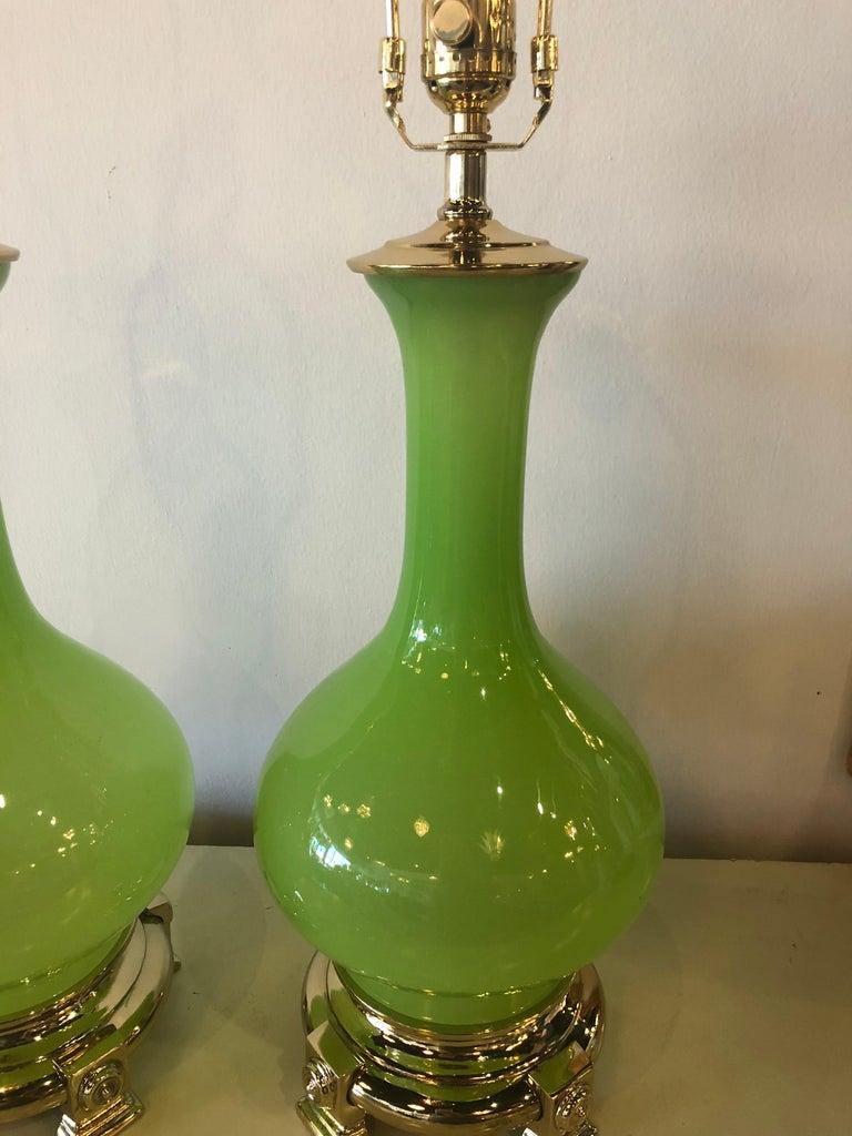 Vintage Paul Hanson Pair of Apple Green Opaline Glass Brass Table Lamps 5