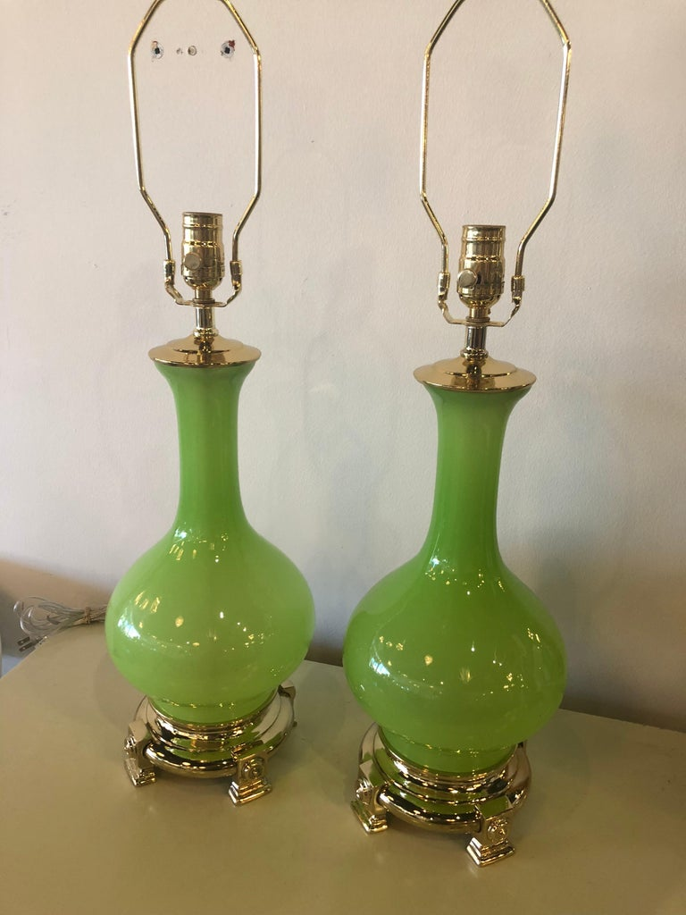 Vintage Paul Hanson Pair of Apple Green Opaline Glass Brass Table Lamps 6