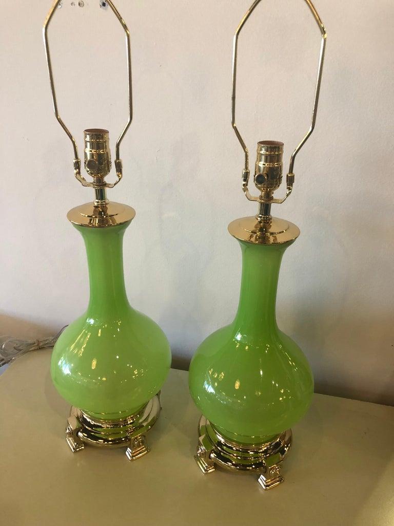 Vintage Paul Hanson Pair of Apple Green Opaline Glass Brass Table Lamps 7
