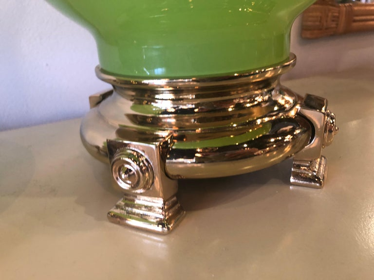 Amazing vintage pair of apple green opaline glass style table lamps by Paul Hanson. These have been completely restored to perfection! These have been rewired, all new brass hardware, Lucite finial. The bases are fantastic and original but have been