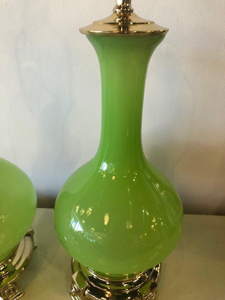 American Vintage Paul Hanson Pair of Apple Green Opaline Glass Brass Table Lamps