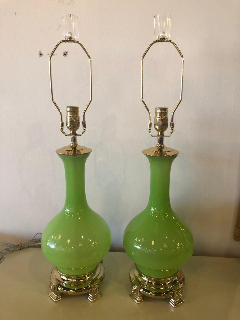 Vintage Paul Hanson Pair of Apple Green Opaline Glass Brass Table Lamps 2