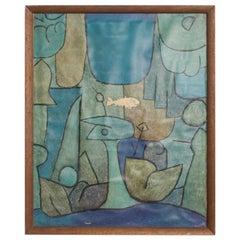 Vintage Paul Klee Abstract Silkscreen Print, Fish in Blue Green
