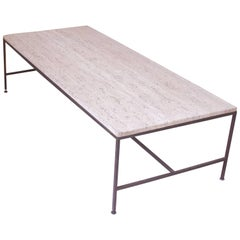 Vintage Paul McCobb Travertine and Brass Coffee Table, USA, 1950s