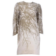 Vintage Pauline Trigere Abstract Gold Tree Branches Dress