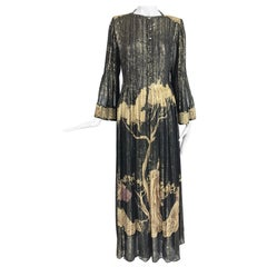 Vintage Pauline Trigere Black and Gold Metallic Chiffon Golden Tree Dress 1960s