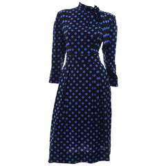 Vintage Pauline Trigere Blue and Black Polka Dot Silk Dress With Fabric Neck Tie