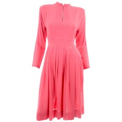 Vintage Pauline Trigere Salmon Pink Dress With Keyhole Slit and Pleated Skirt