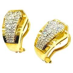 Vintage, Pave Diamond Huggie Earrings, 14 Karat Gold