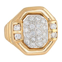 Vintage Pave Diamond Ring 14 Karat Yellow Gold Square Octagonal Cocktail Jewelry