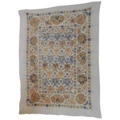 Vintage Peach and Grey Uzbekistan Embroidery Suzani Textile Panel
