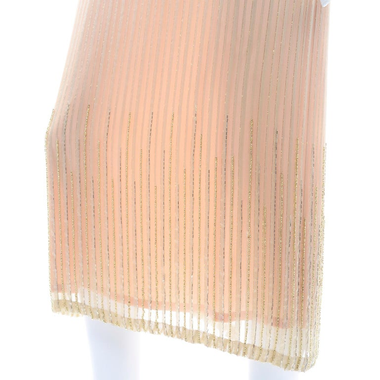 Vintage Peach & Gold Beaded Sheer Evening Dress W Draping w Boutique Label For Sale 6