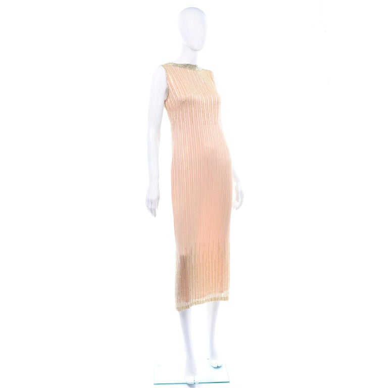 Vintage Peach & Gold Beaded Sheer Evening Dress W Draping w Boutique Label In Good Condition For Sale In Portland, OR