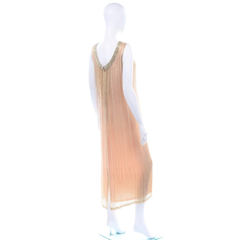 Women's Vintage Peach & Gold Beaded Sheer Evening Dress W Draping w Boutique Label For Sale