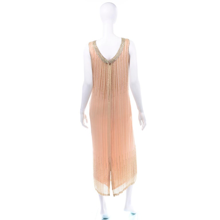 Vintage Peach & Gold Beaded Sheer Evening Dress W Draping w Boutique Label For Sale 1