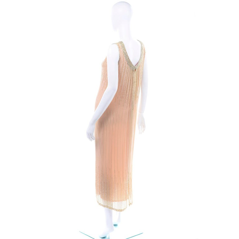 Vintage Peach & Gold Beaded Sheer Evening Dress W Draping w Boutique Label For Sale 2