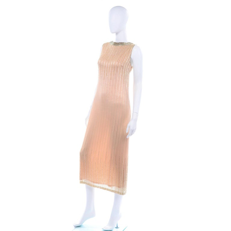 Vintage Peach & Gold Beaded Sheer Evening Dress W Draping w Boutique Label For Sale 3