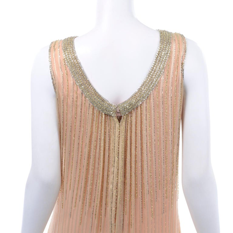Vintage Peach & Gold Beaded Sheer Evening Dress W Draping w Boutique Label For Sale 5