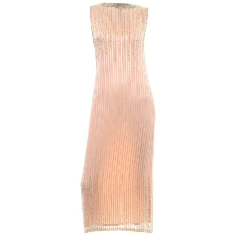 Vintage Peach & Gold Beaded Sheer Evening Dress W Draping w Boutique Label For Sale