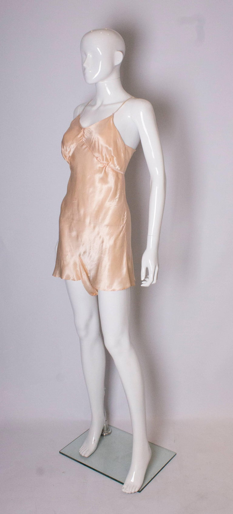 Beige Vintage Peach Satin Cami Nickers For Sale