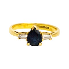 Vintage Pear Cut Sapphire and Baguette Diamond Three-Stone Ring
