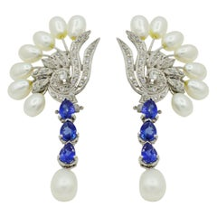 Vintage Pear Sapphire Diamond Freshwater Pearl Palladium Earrings