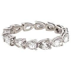 Vintage Pear Shape Diamond Platinum Eternity Ring