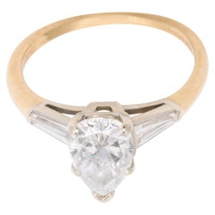 Vintage Pear Shape Diamond Ring in Platinum