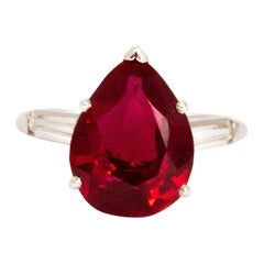 Vintage Pear Shape Synthetic Ruby and Diamond Platinum Ring