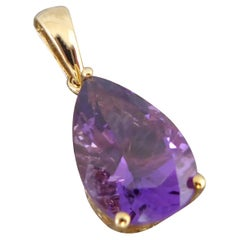 Vintage Pear Shaped Amethyst Pendant, Yellow Gold Setting