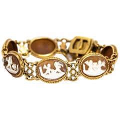 Vintage Pearl and 9 Carat Gold Cameo Bracelet
