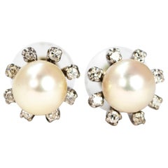 Vintage Pearl and Diamond 14 Carat White Gold Cluster Stud Earrings