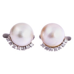 Vintage Pearl and Diamond 18 Carat Gold Earrings