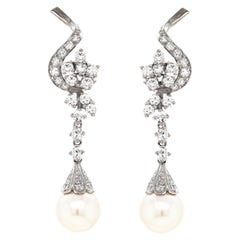 Vintage Pearl and Diamond 18 Carat White Gold Drop Earrings, circa 1950s