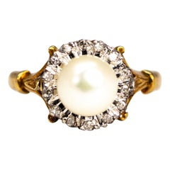 Vintage Pearl and Diamond 9 Carat Gold Cluster Ring