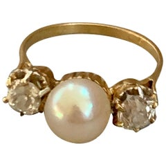 Vintage Pearl and Euro Cut Diamond 18 Karat Yellow Gold Ring - Size 6