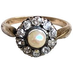 Vintage Pearl and European Cut Diamond 14 Karat Rose Gold Circle Ring - Size 8