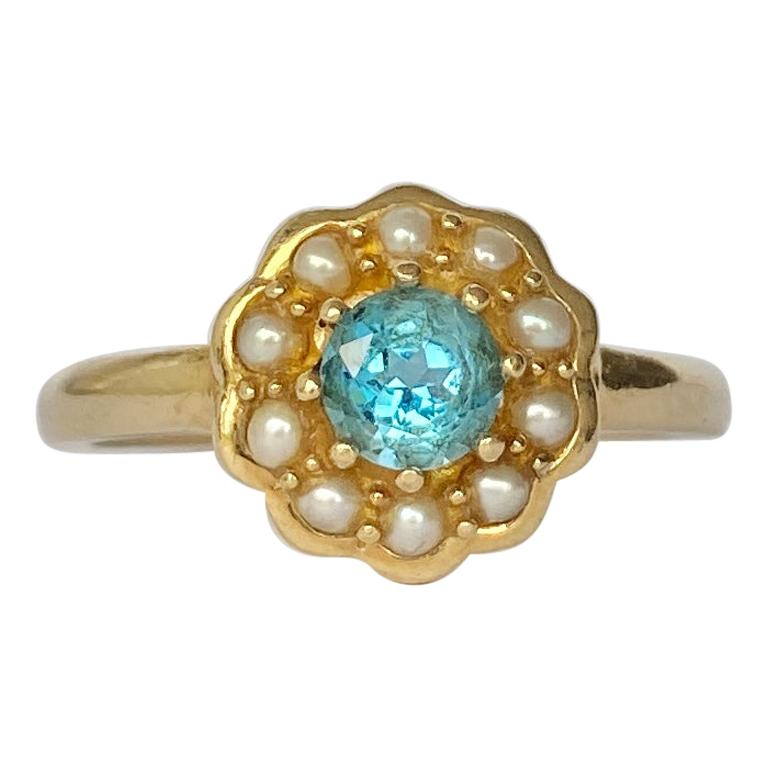Vintage Pearl and Topaz 9 Carat Gold Cluster Ring