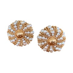 Vintage Pearl Cluster 14 Karat Yellow Gold Round Clip-On Earrings