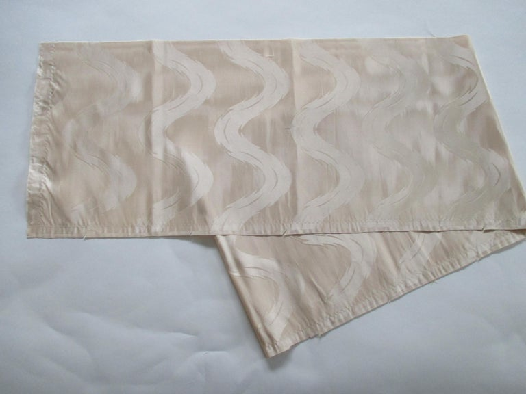 Japanese Vintage Pearl Color Obi Silk Textile For Sale