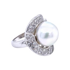 Vintage Pearl Diamond Gold Cocktail Ring