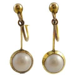 Vintage Pearl Drop Earrings, 15 Carat Gold, circa 1930s, 9 Carat Screw Fittings